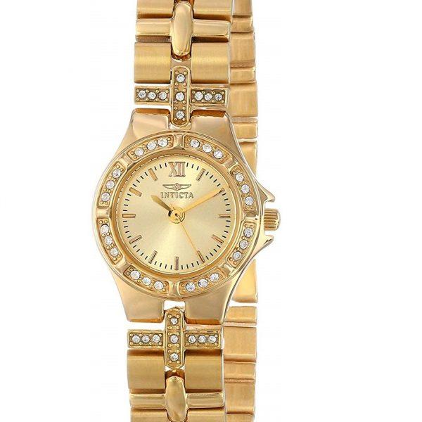 Reloj Invicta Para Dama 0134 Chapado En Oro De 18 Con Cristales Engarzados Zshop Colombia
