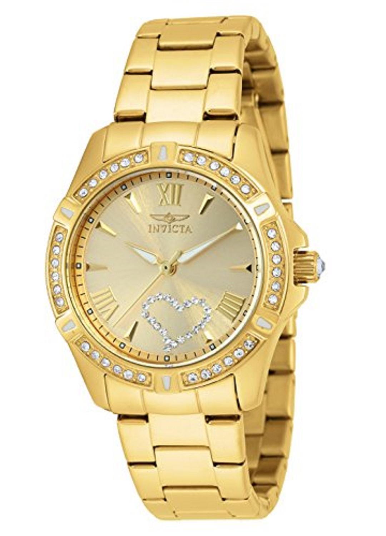 Reloj Para Dama Invicta 21384 Pulsera De Acero Inoxidable Oro De 18 K Con Cristales Decorativos Zshop Colombia