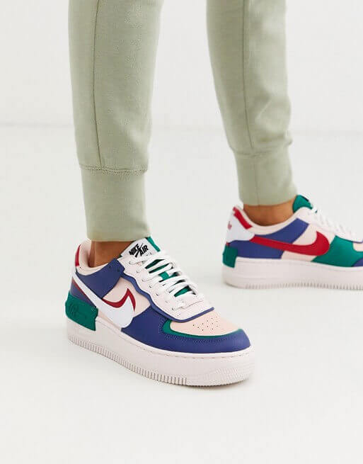 Zapatillas Nike Air Force 1 Shadow 100% Original 50% De Descuento Azul Verde